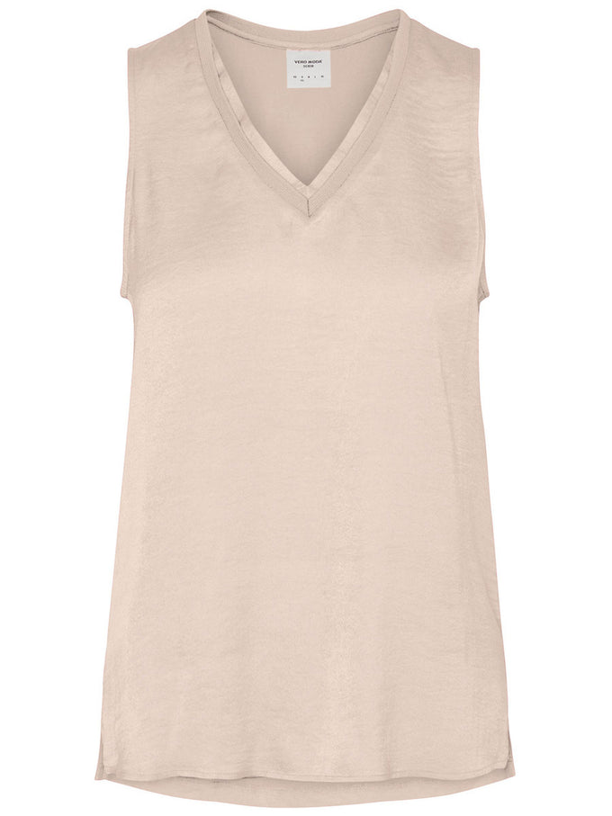 HIGH-LOW SLEEVELESS BLOUSE PEACH WHIP
