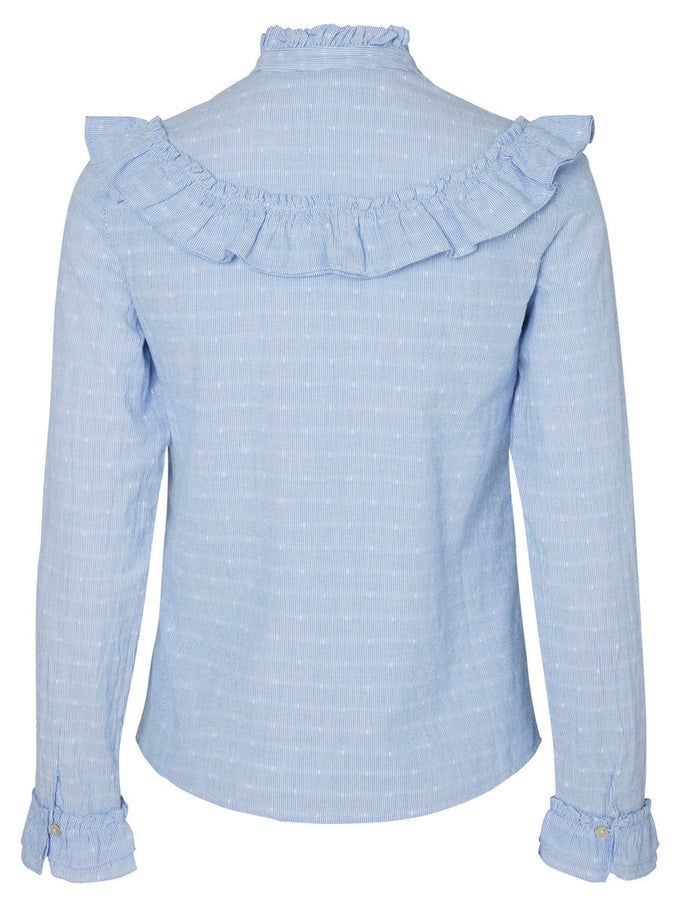RUFFLED SHIRT BLUE BONNET