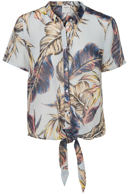 CROPPED TROPICAL PRINT SHIRT