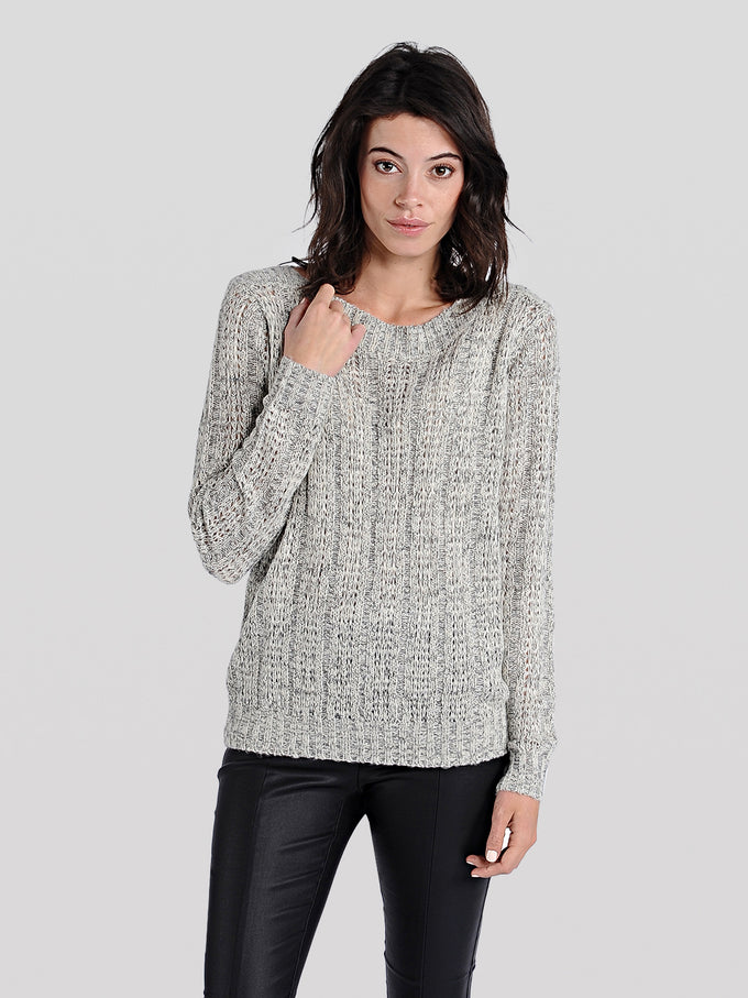 TWO-TONE O-NECK SWEATER ZINFANDEL