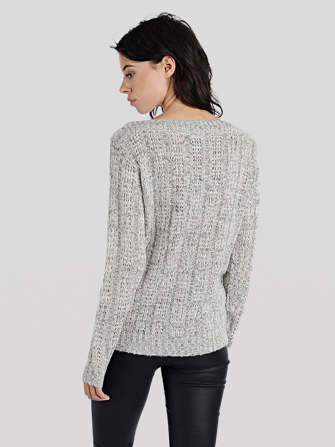 TWO-TONE O-NECK SWEATER BLACK