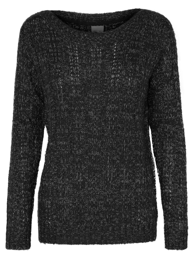 TWO-TONE O-NECK SWEATER BLACK NIGHT