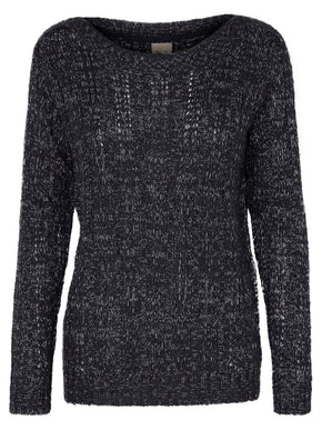 TWO-TONE O-NECK SWEATER