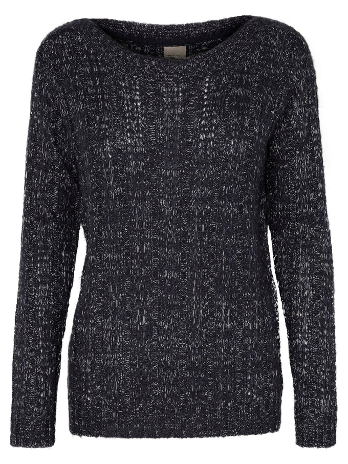 TWO-TONE O-NECK SWEATER NIGHT BLACK