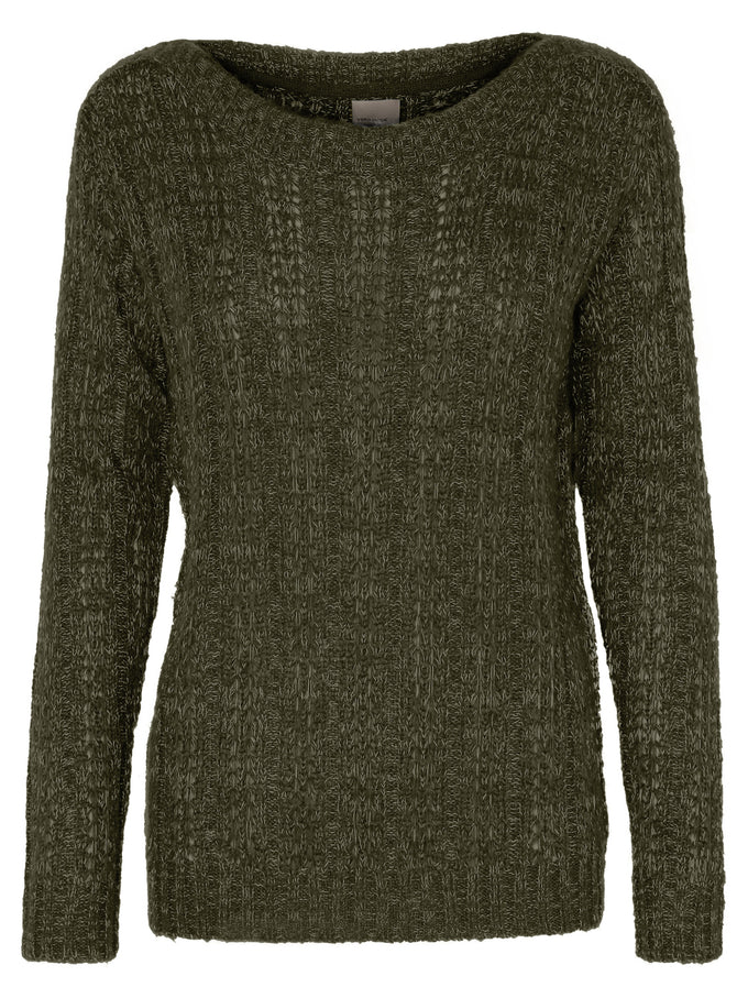 TWO-TONE O-NECK SWEATER Ivy Green