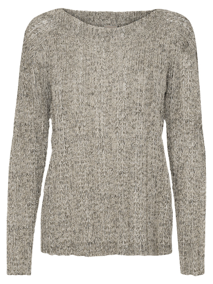 TWO-TONE O-NECK SWEATER LIGHT GREY MELANGE