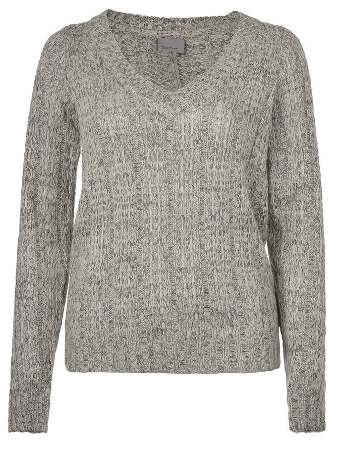 TWO-TONE V-NECK SWEATER LIGHT GREY MELANGE