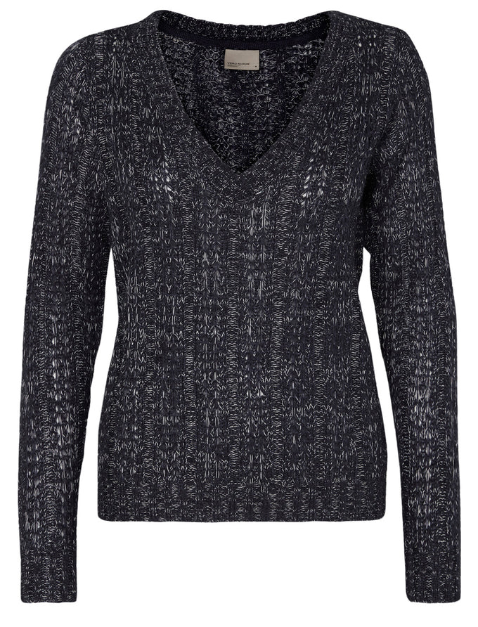 TWO-TONE V-NECK SWEATER BLACK