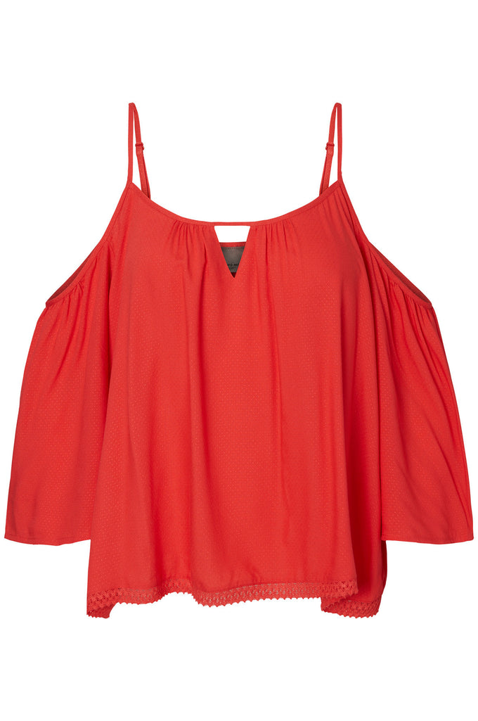 COLD SHOULDERS LOOSE BLOUSE HIBISCUS