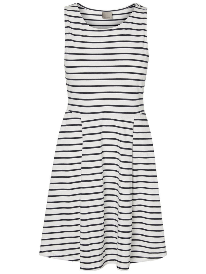 STRIPED SLEEVELESS DRESS SNOW WHITE
