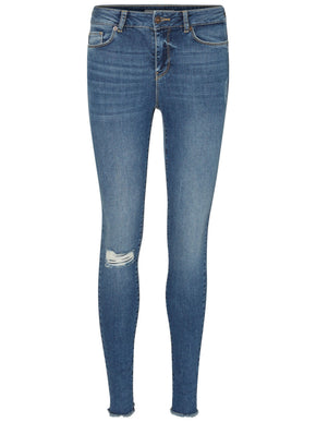 DISTRESSED SLIM FIT ANKLE JEANS