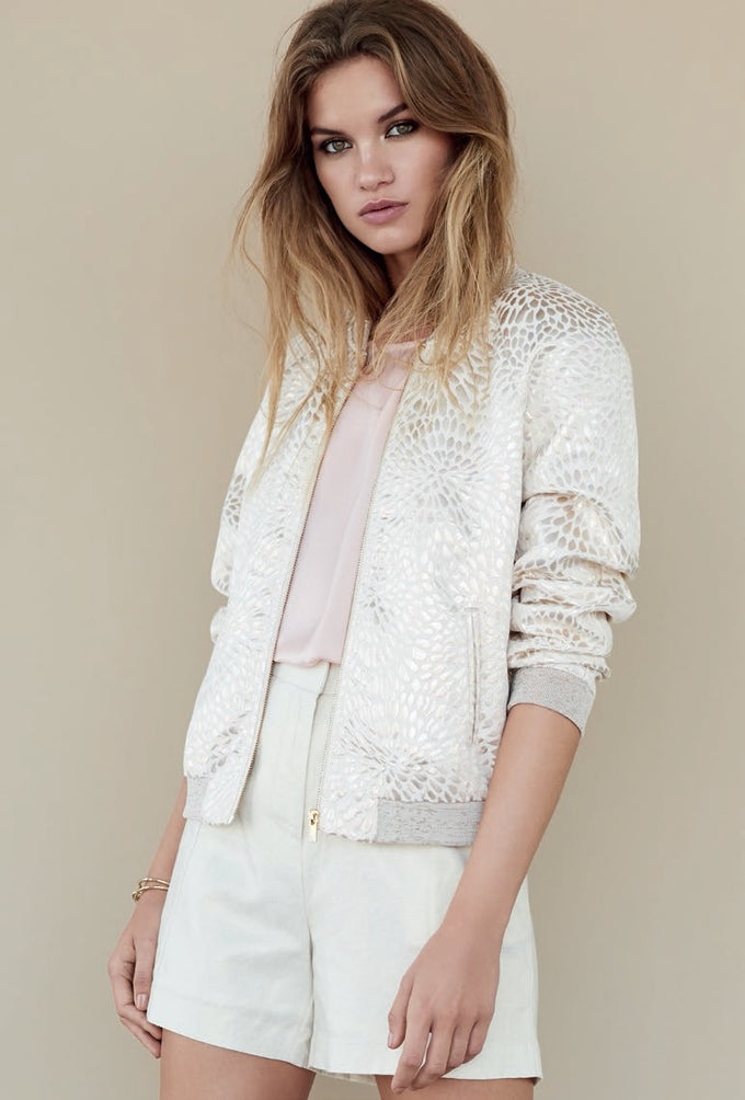 METALLIC BOMBER JACKET MOONBEAM