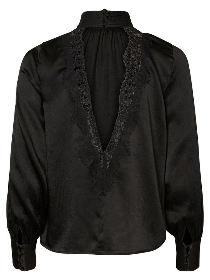 VMNELLIE LACE BLOUSE BLACK
