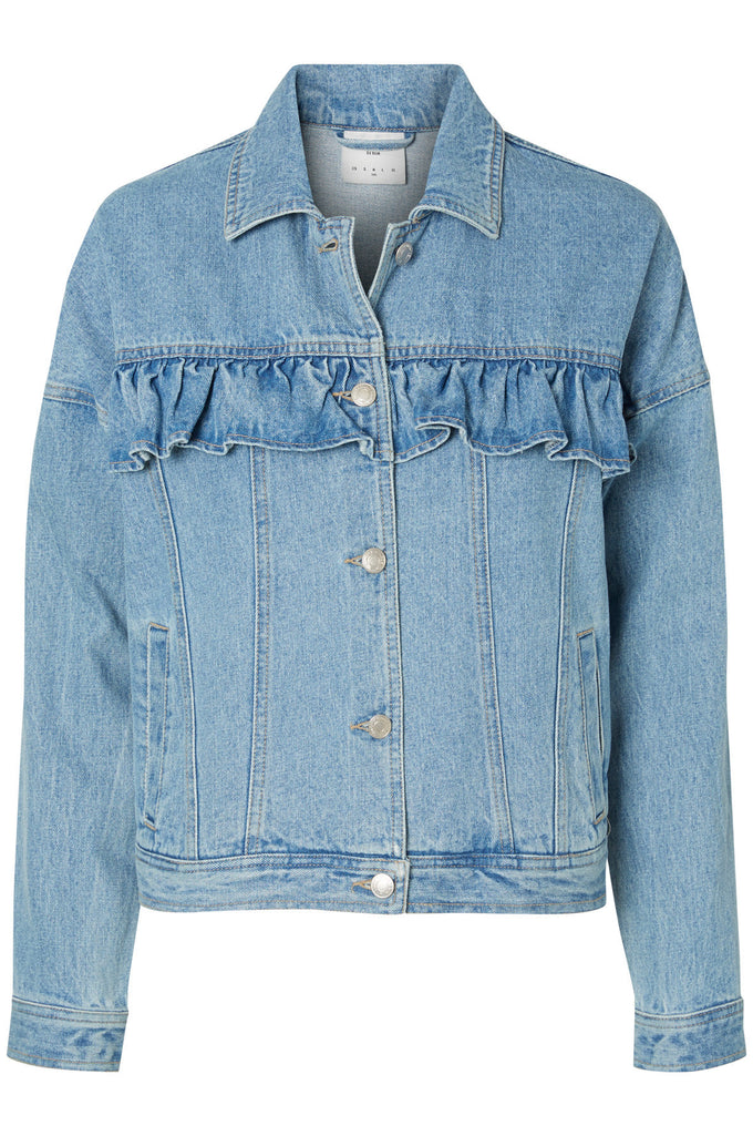 VESTE EN DENIM À VOLANTS VMOLIVIA BLEU DENIM