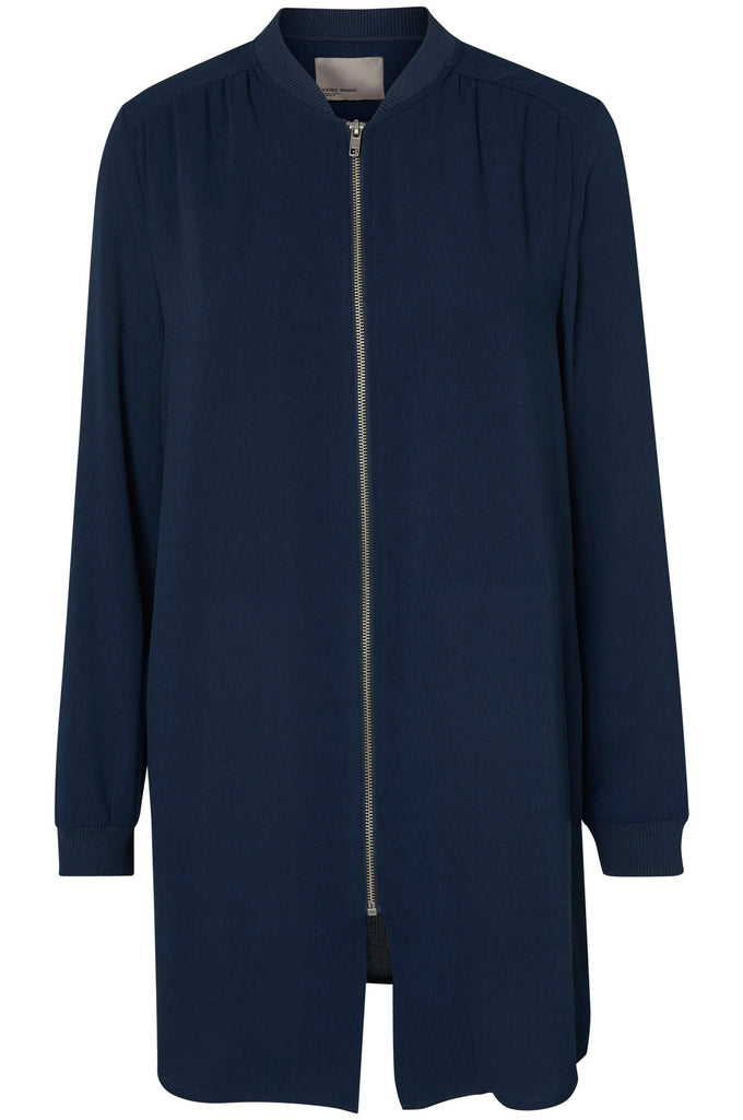 LONG TEXTURED BOMBER JACKET NAVY BLAZER