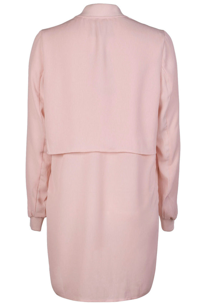 LONG TEXTURED BOMBER JACKET PEACH WHIP