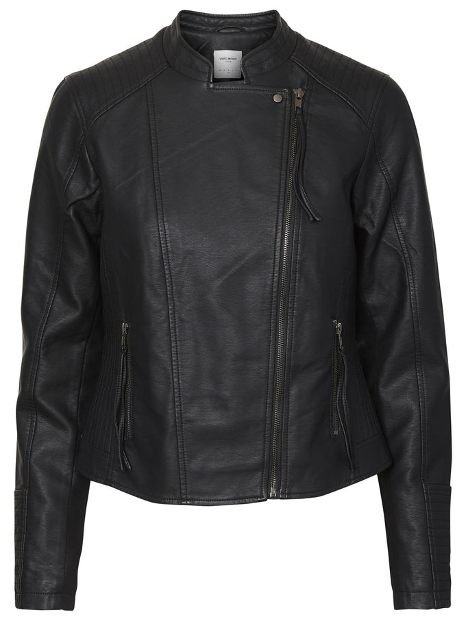 COLORFUL FAUX-LEATHER JACKET BLACK