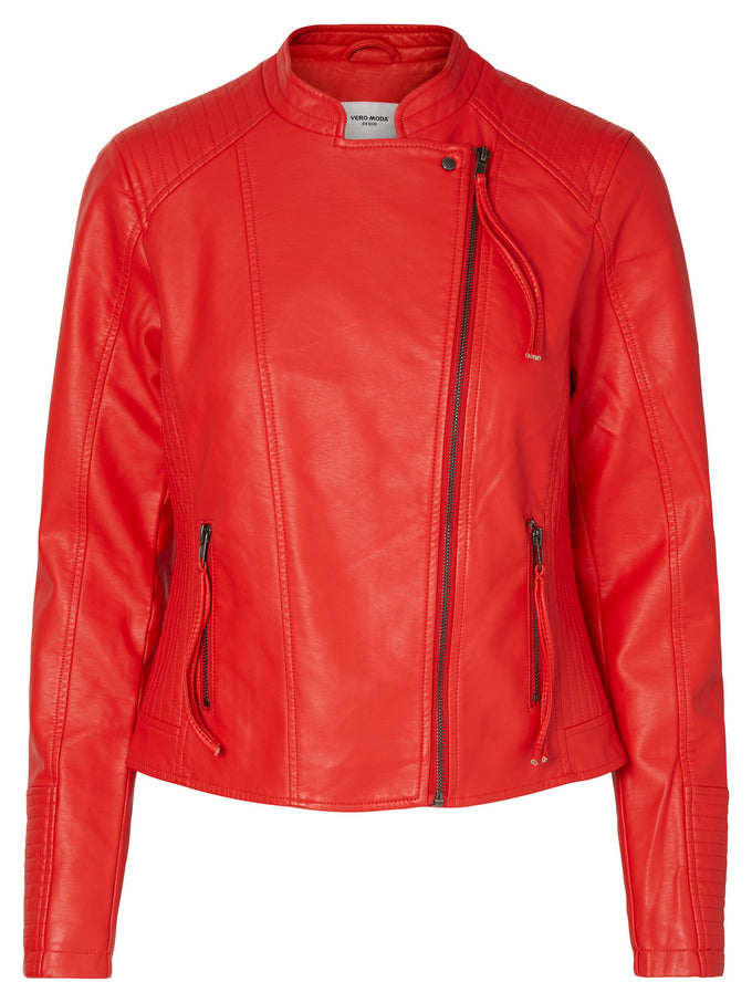 COLORFUL FAUX-LEATHER JACKET FLAME SCARLET