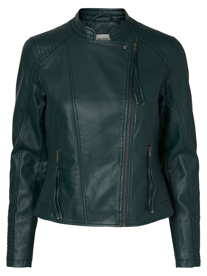 COLORFUL FAUX-LEATHER JACKET GREEN GABLES