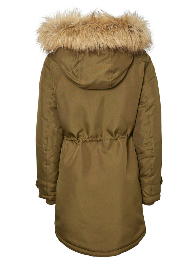 LONG COLORFUL PARKA DARK OLIVE