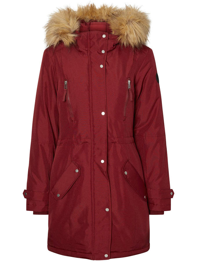 LONG COLORFUL PARKA ZINFANDEL