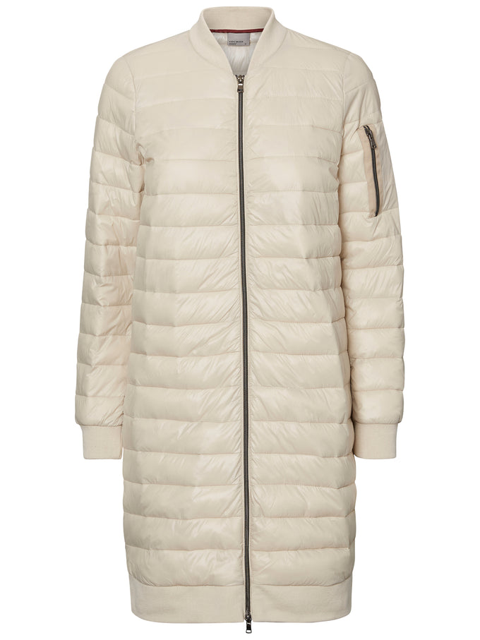 LONG QUILTED COAT OATMEAL