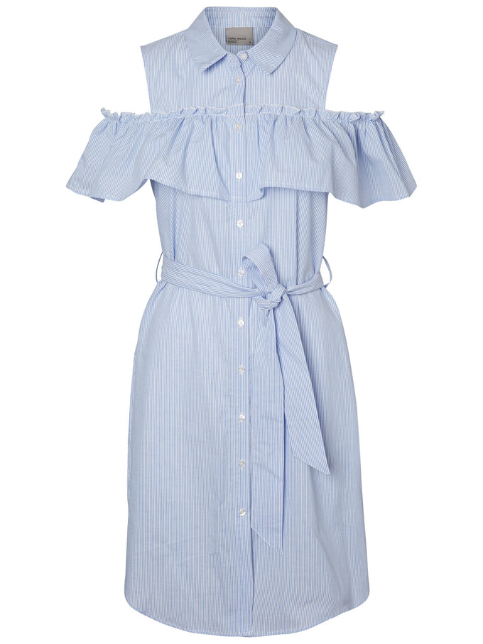 COLD SHOULDERS SHIRT DRESS BLUE BONNET