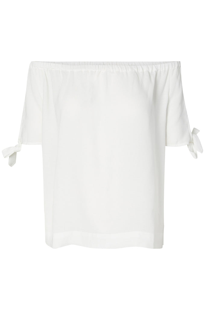 KNOT DETAIL OFF-THE-SHOULDER BLOUSE SNOW WHITE
