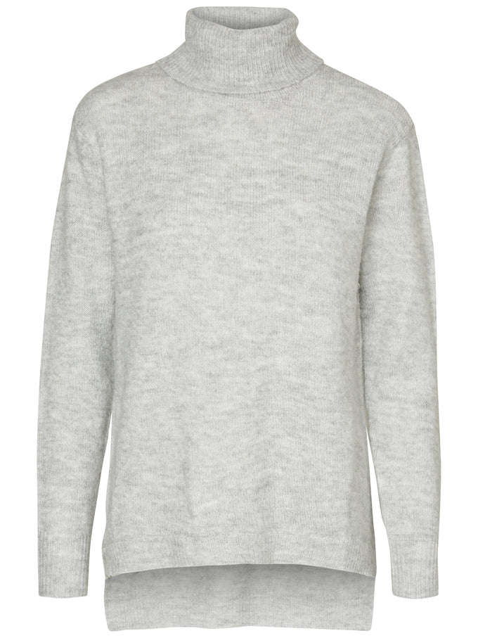 TURTLENECK SOFT HIGH-LOW SWEATER LIGHT GREY MELANGE