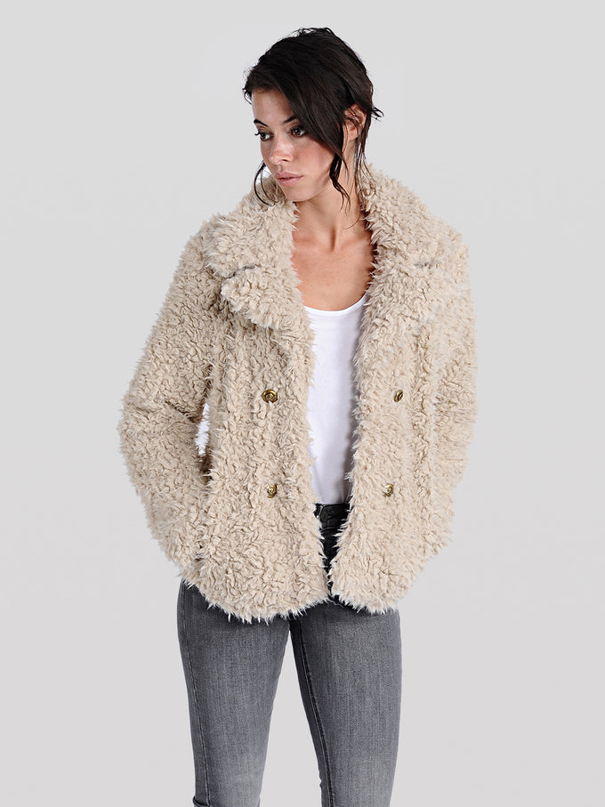 SHORT TEXTURED FAUX-FUR COAT OATMEAL