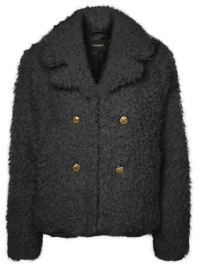 SHORT TEXTURED FAUX-FUR COAT