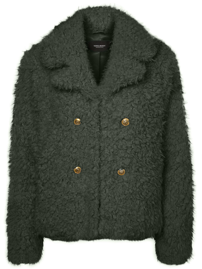 SHORT TEXTURED FAUX-FUR COAT PEAT