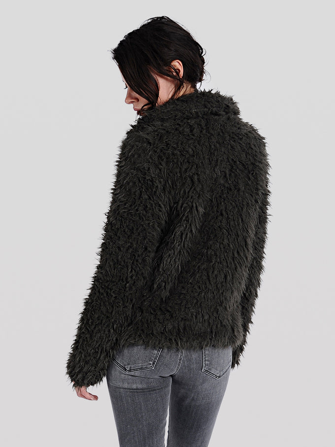 SHORT TEXTURED FAUX-FUR COAT BLACK BEAUTY