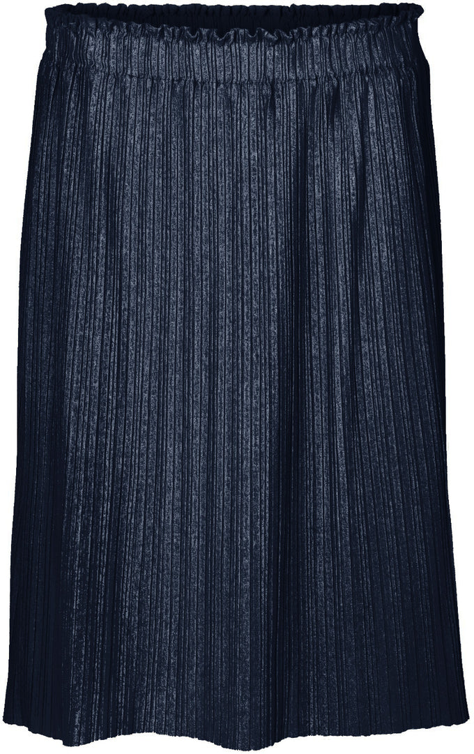 METALLIC MIDI PLEATED SKIRT NAVY BLAZER