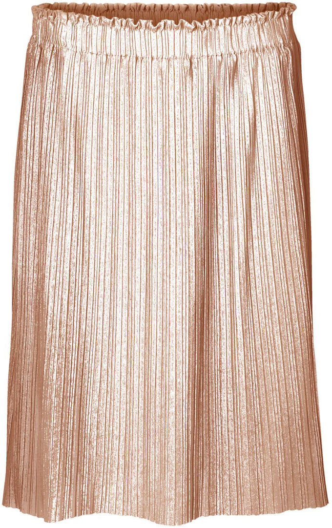 METALLIC MIDI PLEATED SKIRT PEACH WHIP