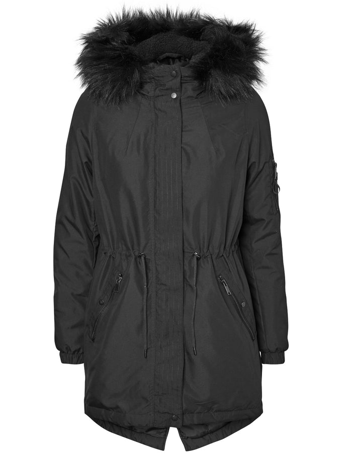 FISHTAIL PARKA WITH FAUX FUR BLACK