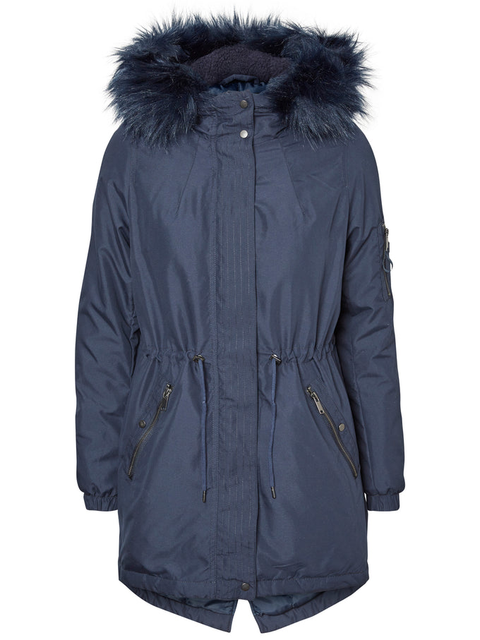 FISHTAIL PARKA WITH FAUX FUR NAVY BLAZER