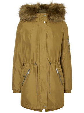 FISHTAIL PARKA WITH FAUX FUR
