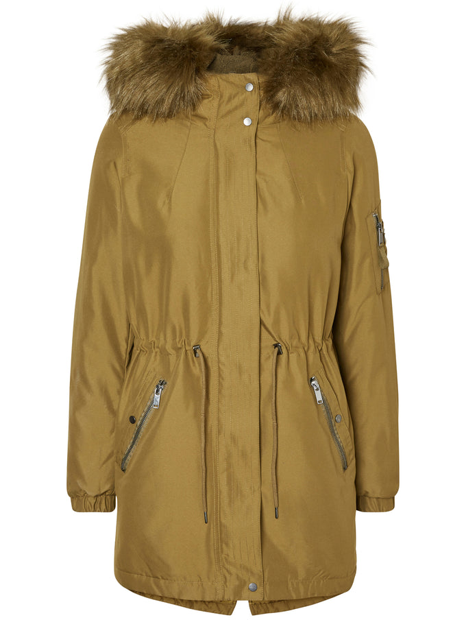 FISHTAIL PARKA WITH FAUX FUR DARK OLIVE