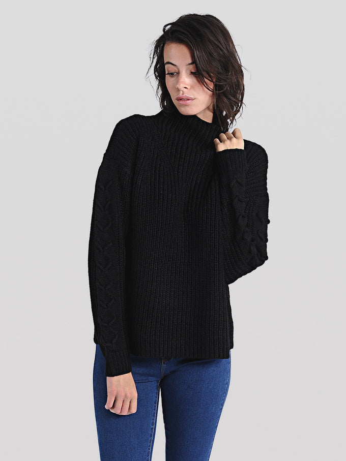 LACE-UP DETAIL SWEATER BLACK