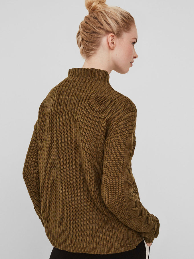 LACE-UP DETAIL SWEATER DARK OLIVE