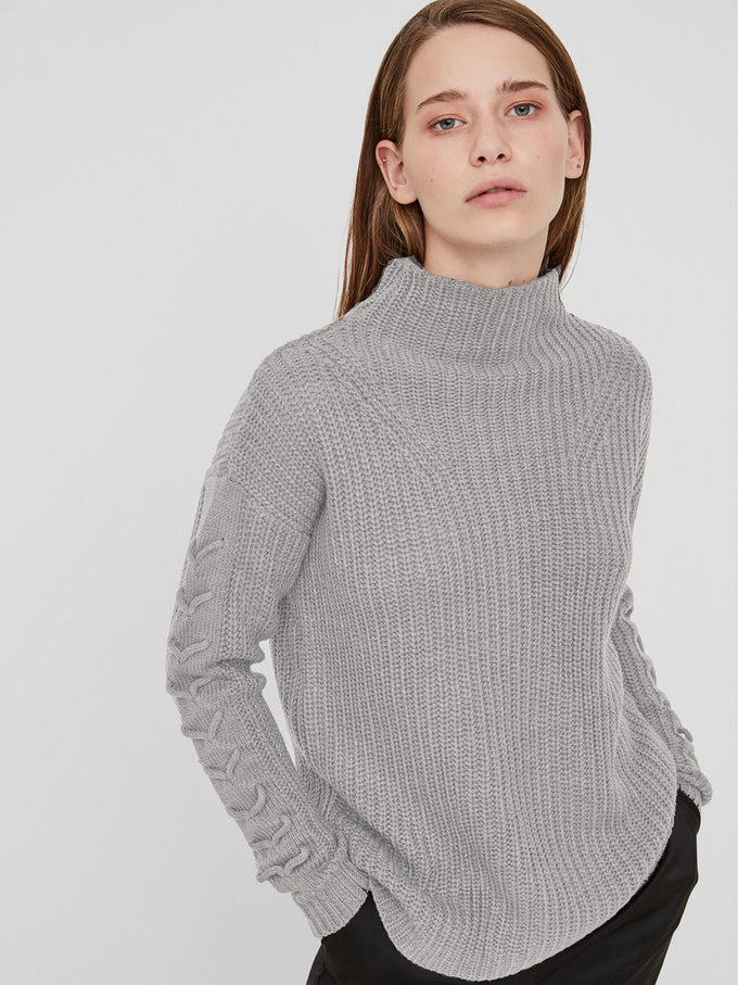 LACE-UP DETAIL SWEATER LIGHT GREY MELANGE