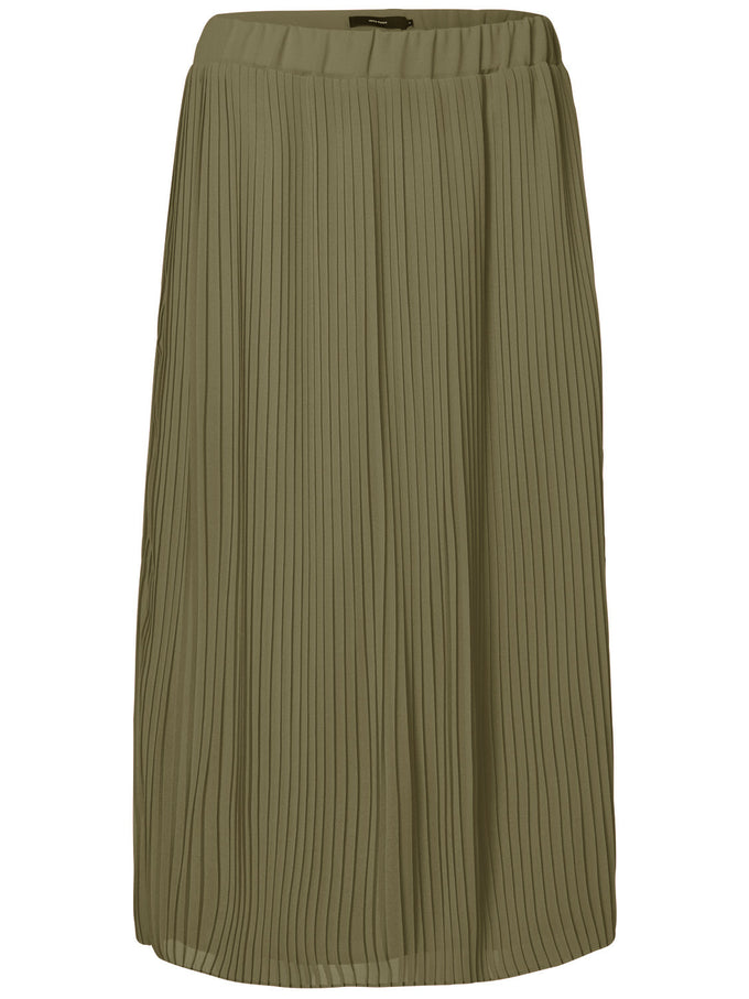 COLORFUL PLEATED MIDI SKIRT DARK OLIVE