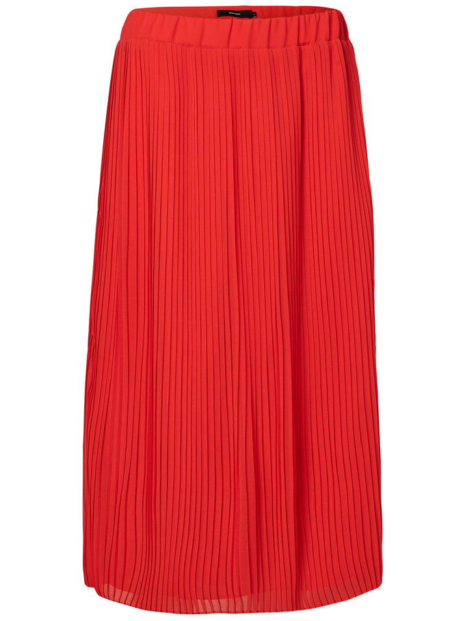 COLORFUL PLEATED MIDI SKIRT FLAME SCARLET