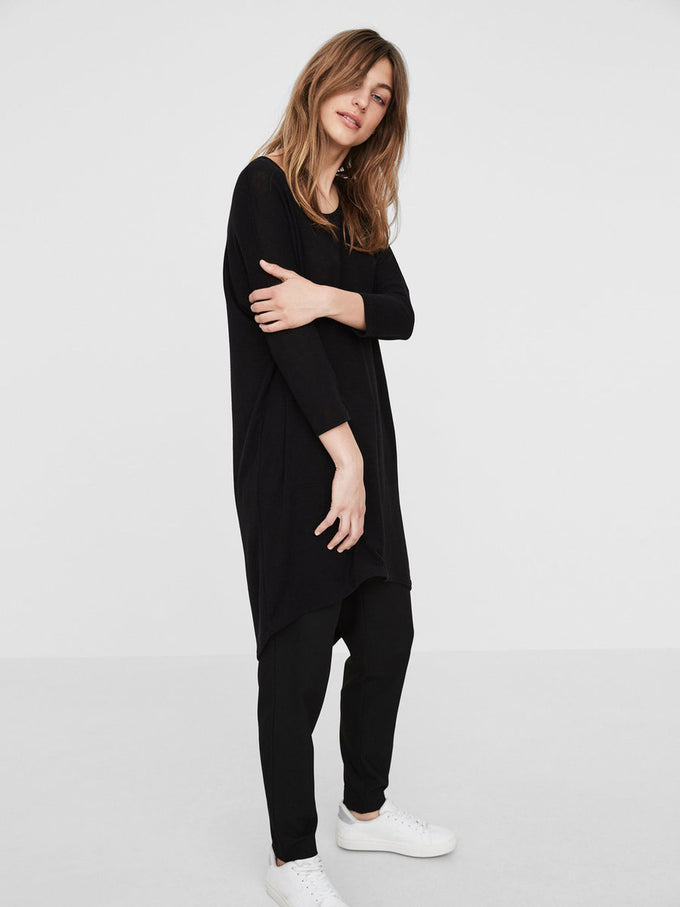 HIGH-LOW LOOSE T-SHIRT BLACK