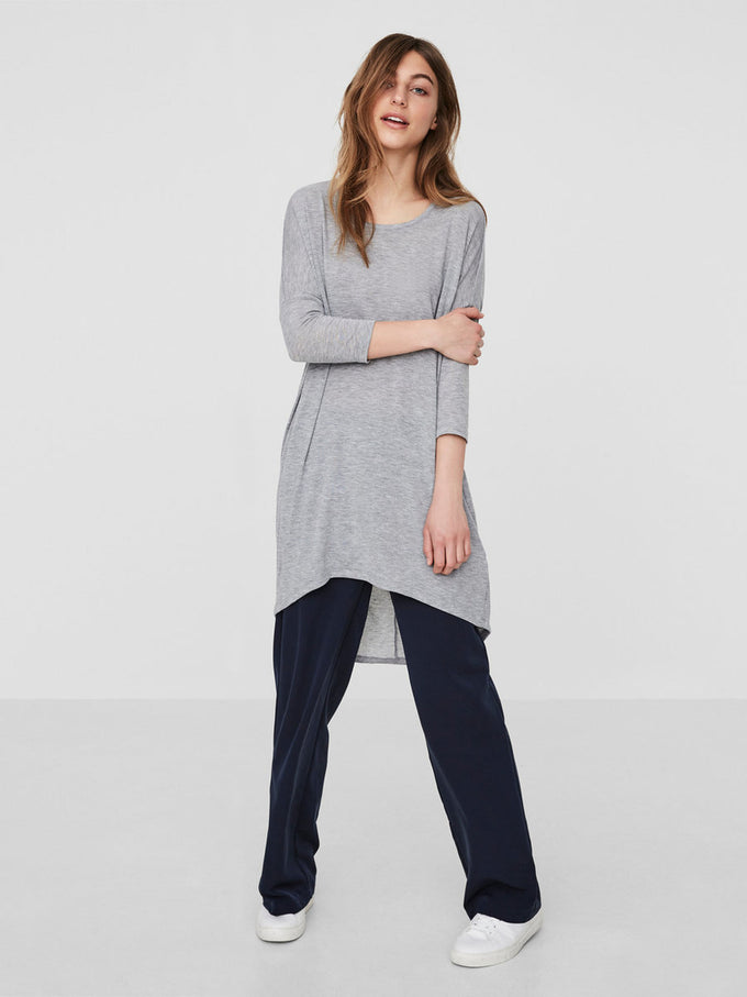 HIGH-LOW LOOSE T-SHIRT LIGHT GREY MELANGE