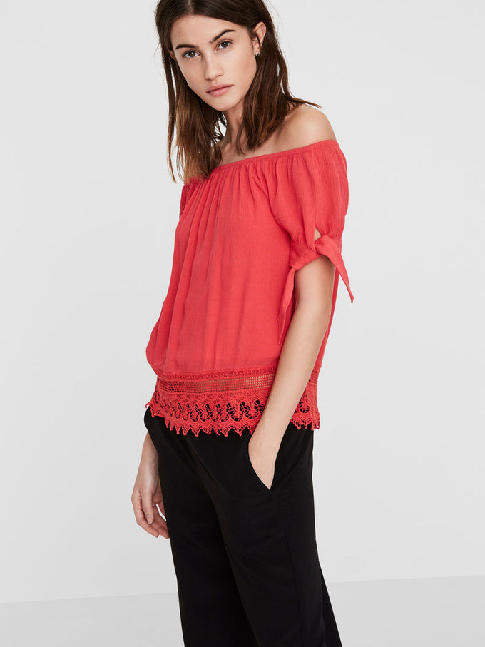 OFF-THE-SHOULDER BLOUSE HIBISCUS