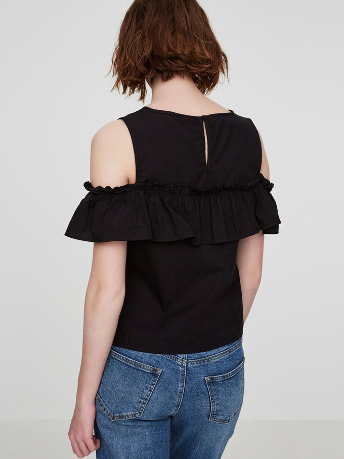COLD SHOULDERS BLOUSE BLACK BEAUTY