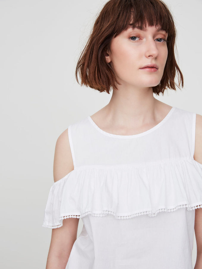 COLD SHOULDERS BLOUSE BRIGHT WHITE