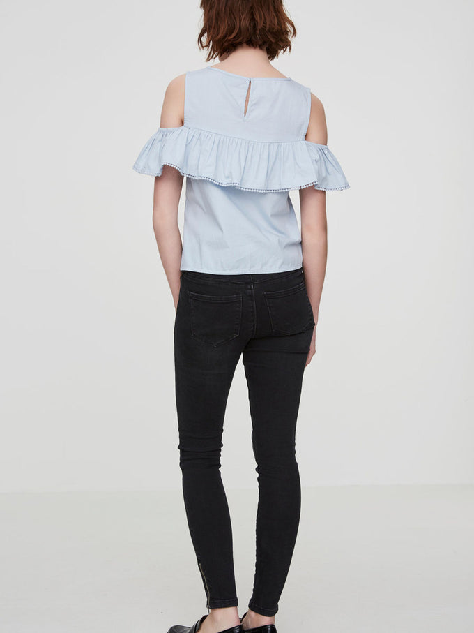 COLD SHOULDERS BLOUSE CASHMERE BLUE